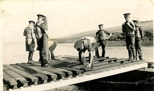 Working with the Territorial Royal Engineers Bridging Squadron at Chesil beach in Dorset in 1934