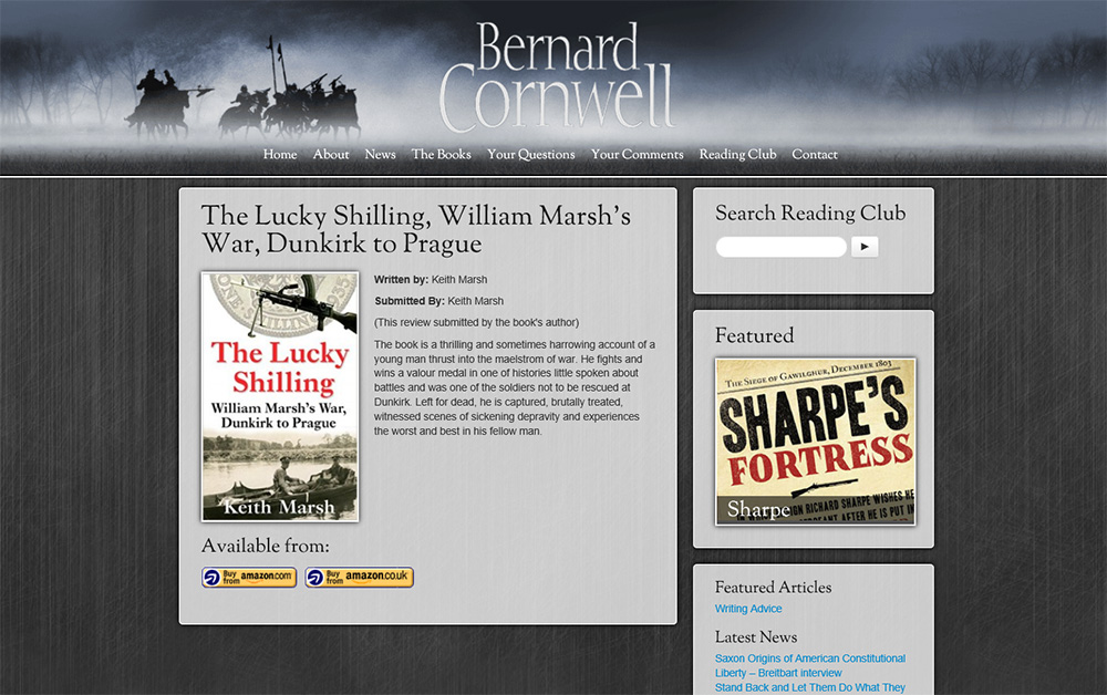 Lucky Shilling is included in Bernard Cornwell's Reading Club